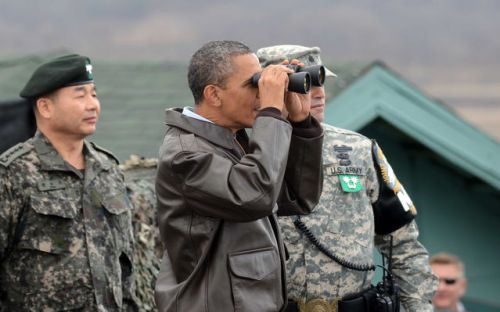 Obama at the DMZ prior to the March 2012 Seoul Summit, where he warned North Koreaas part of US imperialist war drive in East Asia (Pool/Yonhap News via Bloomberg)