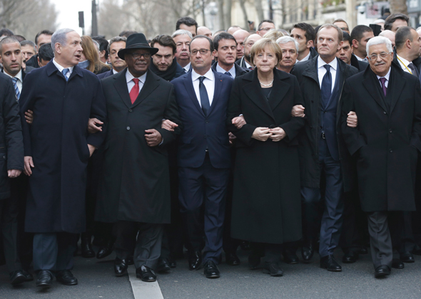 Charlie Hebdo Rally unites Zionist butchers with imperialists leaders and Palestinian   Compradore